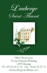 AUBERGE SAINT FLEURET CARTE DE VISITE